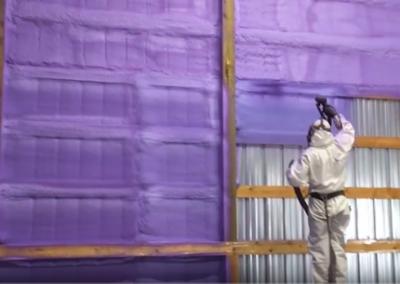 metal spraying interior walls
