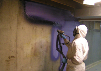 basement concrete wall spray