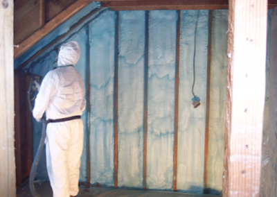 spraying on second floor interior