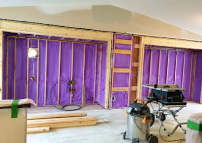 new build interior wall spray